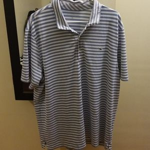 Vineyard Vines mens blue and white stripes polo xl